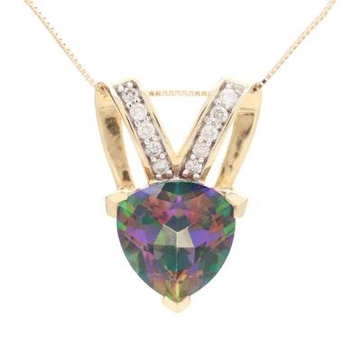 14K Yellow Gold Topaz and Diamond Slide Pendant Necklace