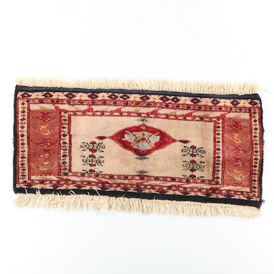 Hand-Knotted Central Asian Tribal Wool Mat