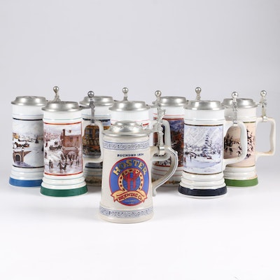 Coors, Miller, and Other Ceramic Beer Steins, 1990s