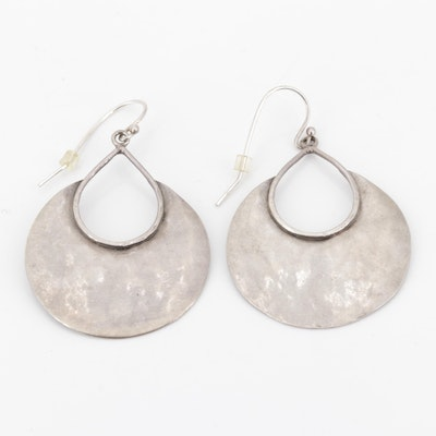 Sterling Silver Hammered Dangle Earrings