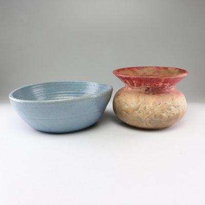 Embossed Earthenware Planter and Bowl