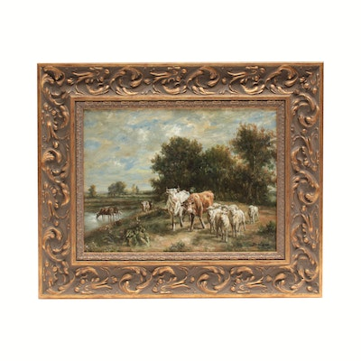 Oil Painting of Cows and Sheep