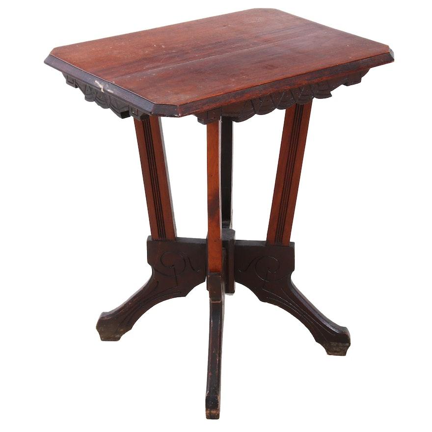 Eastlake Walnut End Table, Circa 1900