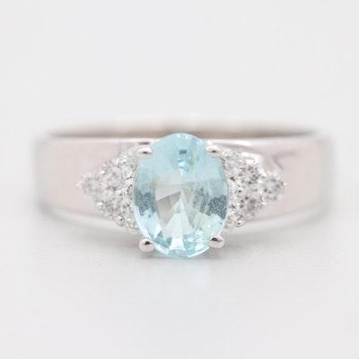 14K White Gold 1.65 CT Blue Topaz and Diamond Ring