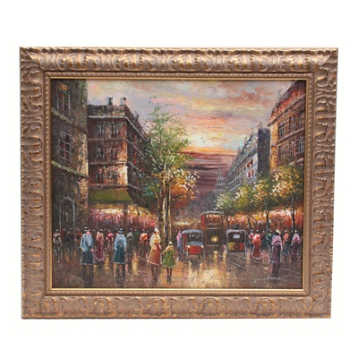 Beston Oil Painting of Street Scene