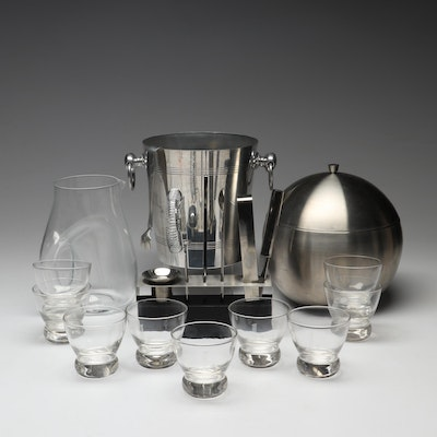 Contemporary Barware Including Stainless Steel Ice Bucket, Low Ball Glasses
