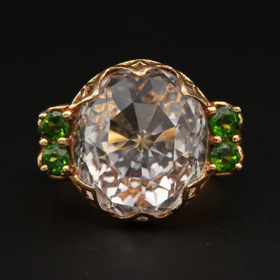 Gold Wash on Sterling Silver Rose Quartz and Diopside Openwork Ring
