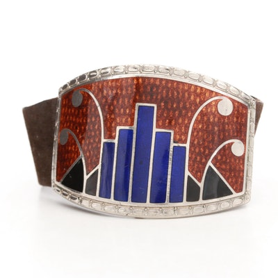 Silver Tone and Leather Enamel Bracelet