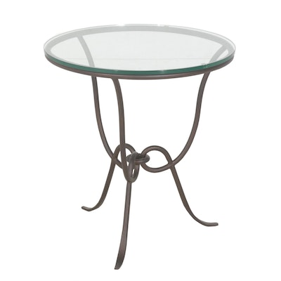 Glass Top Iron Side Table
