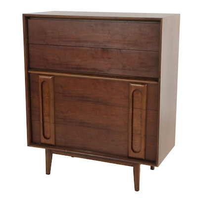 Lane, Mid Century Modern Walnut and Burlwood Chest of Drawers