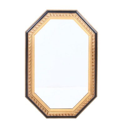Black and Gold Painted Octagonal Mirror, Contemporary