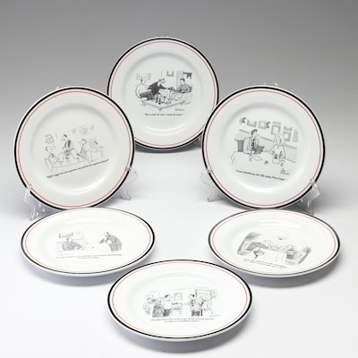 The New Yorker Wine Cartoon Luncheon Plates