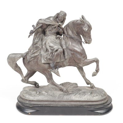 Bronze Horse and Rider Figure Sculpture