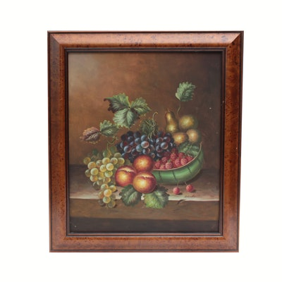 Oil Painting of Fruit Still Life, Mid-to-Late 20th Century