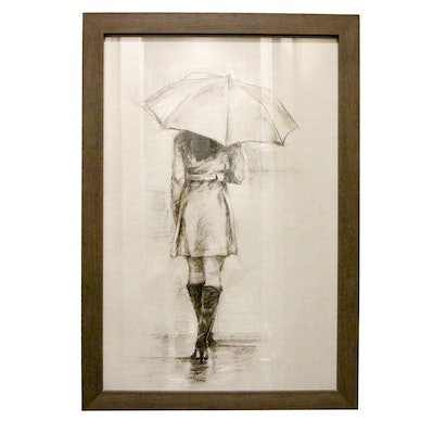 Framed Offset Lithograph Print After Charcoal Study of a Girl with an Umbrella
