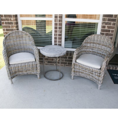Pair of Wicker Patio Chairs with Metal and Resin Side Table