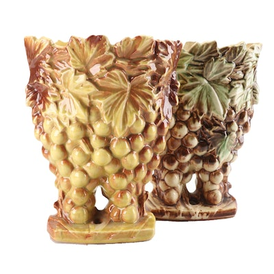 McCoy Pottery Grape and Leaf Vases, Mid 20th Century