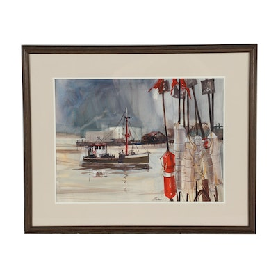 Late 20th Century Watercolor Painting of Harbor Scene