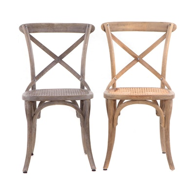 Rustic Caned Wood Cross-Back Side Chairs, Contemporary