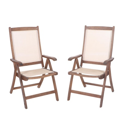 Green with Envy Teak Folding Lounge Chairs, Contemporary