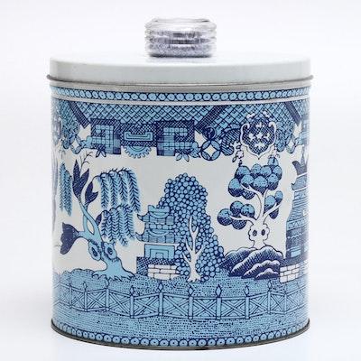 "Blue Magic ""Krispy Kan"" Lidded Tin with ""Blue WIllow"" Pattern, Circa 1950s"