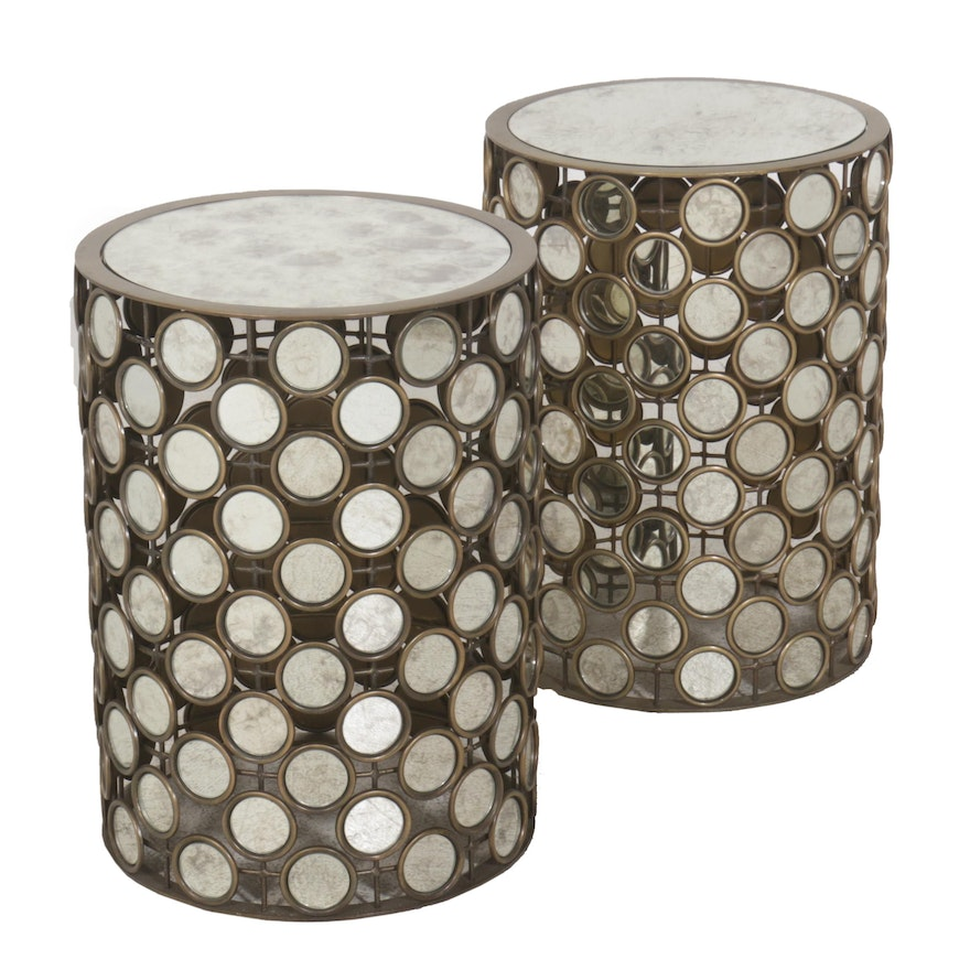 Contemporary Round Mirrored Accent Tables, Pair