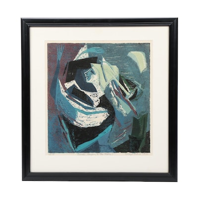 "Evelyn Marx Woodblock Print ""Awake, Sleepers, to the Moon!"""