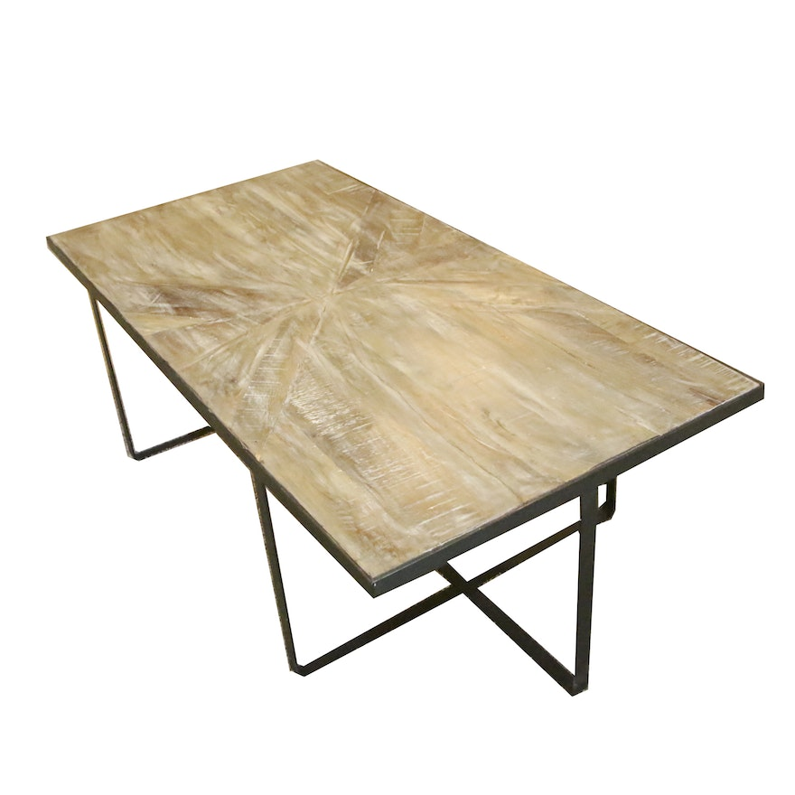 Contemporary Wood and Metal Coffee Table