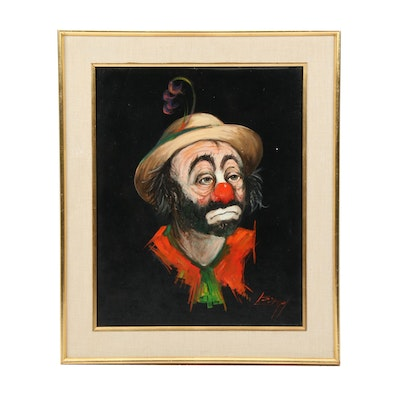Louis Spiegel Clown Portrait Oil Painting