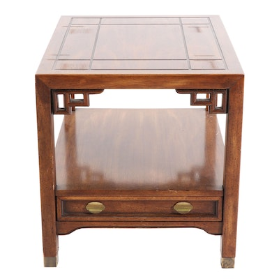 Mid-Century Modern Century Asian Inspired Fruitwood End Table