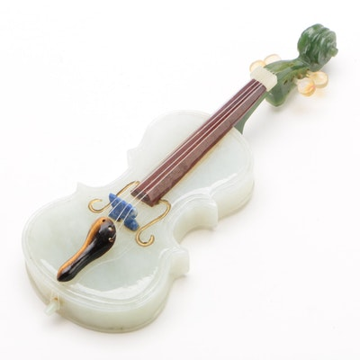 Carved Nephrite Jade and Precious Stone String Instrument