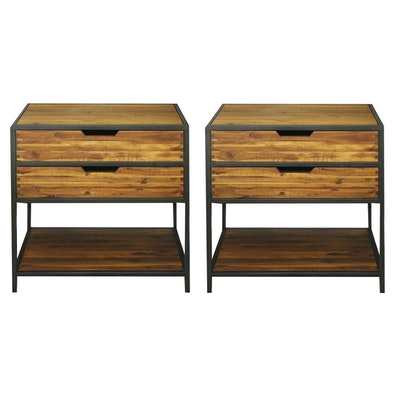 Pair of Contemporary Wooden Nightstands with Metal Accents