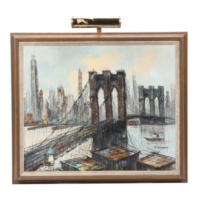 Mid Century Modern H. Duchamp Oil Painting of Brooklyn Bridge