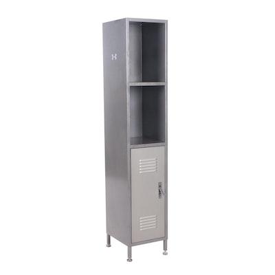 Industrial Painted Metal Shelves with Built-In Locker