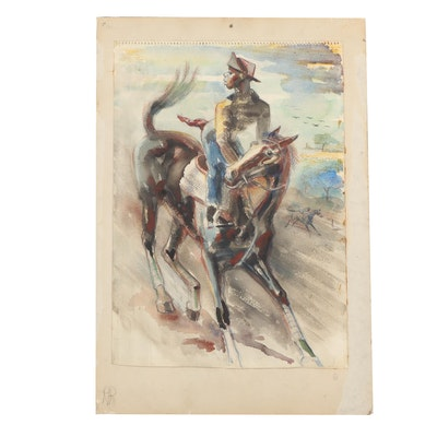 Robert Pippinger Watercolor Painting of a Horse Race