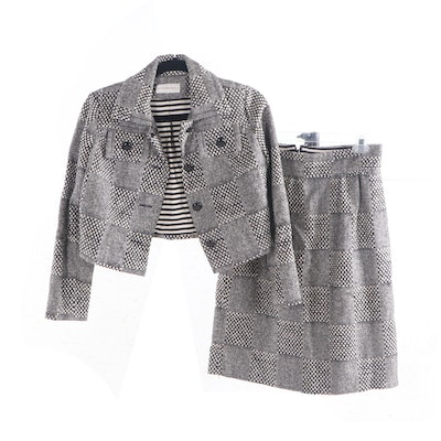 Howard Wolf Checkered Knit Wool Skirt Suit