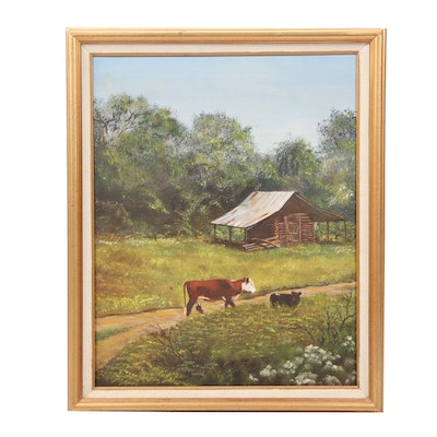 20th Century Pastoral Oil Painting
