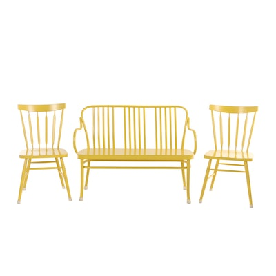 Crate & Barrel, Three-Piece Yellow-Painted Seating Group