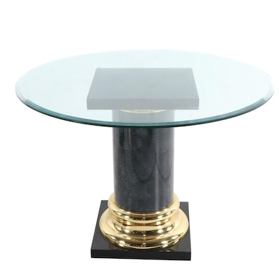 Contemporary Column Form Foyer Table with Smoked Glass Top, Late 20th Century