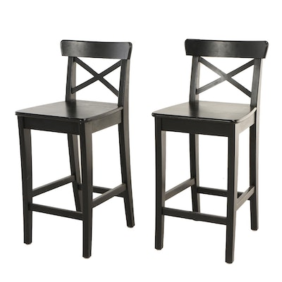 "IKEA, Pair of ""Ingolf"" Brown-Black Stained Pine Counter-Height Bar Stools"