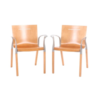 Pair of Contemporary Modern Engineered Wood Armchairs