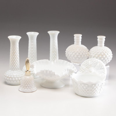 Hobnail Milk Glass Vases and Bowls