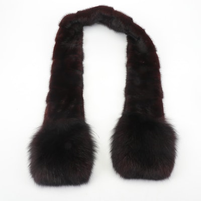 Dark Mahogany Mink Fur and Fox Fur Scarf