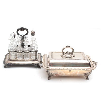 Mappin & Webb's  Silver Plate Warming Tray and Silver Plate & Crystal Cruet Set