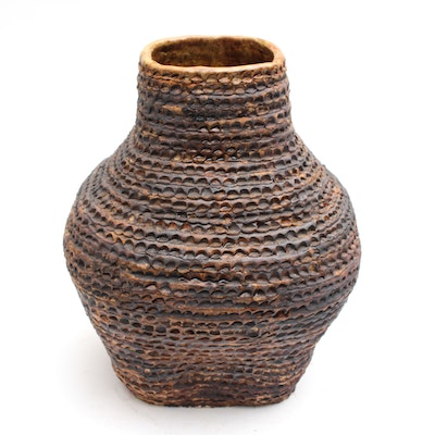Handbuilt Stoneware Vase with Rope Cording Pattern, Late 20th Century