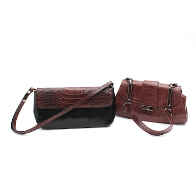 Brahmin Leather Handbag and Stuart Weitzman Croc Embossed Leather Handbags