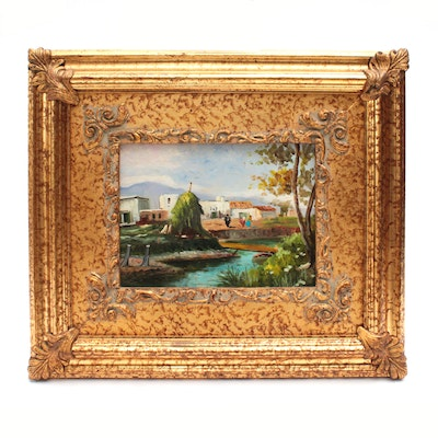 Late 20th Century Oil Painting of Landscape