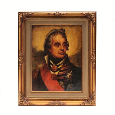 Oil Painting of Portrait of Military Officer