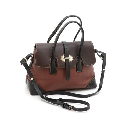 Dooney & Bourke Pebbled and Florentine Tri-Tone Leather Front Flap Satchel