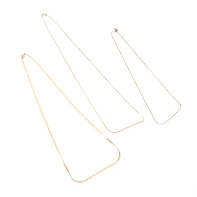 14K Yellow Gold Herringbone, Curb, and Box Chain Necklaces